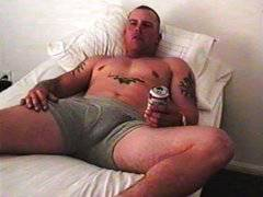 Bodybuilder with tattoos jerks monster cock